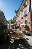 Historic city center of Konstanz with cafe terrasse Stock Photos