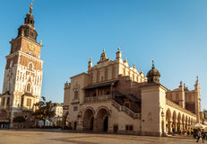 Historic city center of Krakow with cloth hall and town hall Royalty Free Stock Images