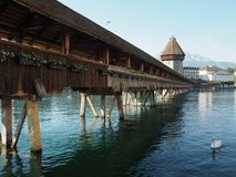 Historic city center of Lucerne with famous Chapel Bridge.  stock images