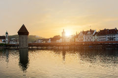 Historic city center of Lucerne with famous Chapel Bridge Royalty Free Stock Photo