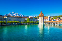Historic city center of Lucerne with famous Chapel Bridge and lake Lucerne Royalty Free Stock Images