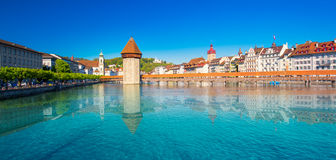 Historic city center of Lucerne with famous Chapel Bridge and Water tower Royalty Free Stock Photo