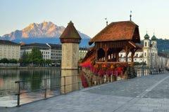 Historic city center of Lucerne with famous Chapel Bridge & x28;Kapel Stock Photography