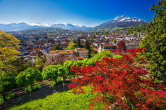 Historic city center of Lucerne with famous Pilatus mountain and Swiss Alps, Lucerne, Switzerland. Historic city center of Lucerne with famous Pilatus mountain Stock Images