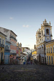 Historic City Center of Pelourinho Salvador Brazil. Historic city center of Pelourinho Salvador da Bahia Brazil features colonial buildings and cobblestone Stock Photography