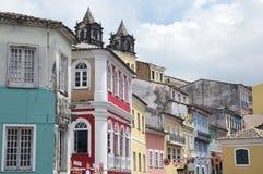Historic City Center of Pelourinho Salvador Brazil. Historic city center of Pelourinho Salvador da Bahia Brazil features colonial buildings and cobblestone Royalty Free Stock Photography