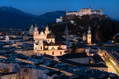Historic city center of Salzburg at night, Austria Stock Photography