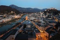 Historic city center of Salzburg at night, Austria Royalty Free Stock Image