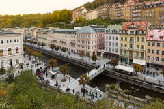 Historic city center of the  spa town Karlovy Vary (Carlsbad) Royalty Free Stock Photography