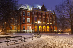 Historic city centre of Krakow by night. Main building of Jagiel Stock Photo