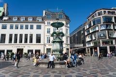 Historic city centre and Stork Fountain in Copenhagen, Denmark