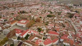 Historic city of Evora with white houses and red roofs, Portugal stock video footage