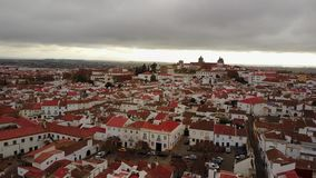 Historic city of Evora with white houses and red roofs, Portugal stock video