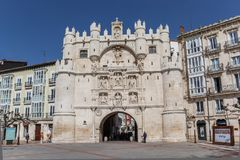 Historic city gate in the center of Burgos. Spain stock images