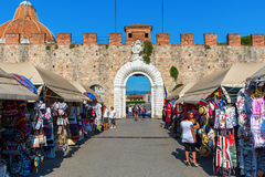 Historic city gate of Pisa, Tuscany, Italy Stock Images