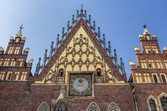 Historic City Hall building in Wroclaw with sundial. Royalty Free Stock Photography