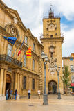 Historic city hall and clock tower in Aix-en-Provence, France Stock Photography