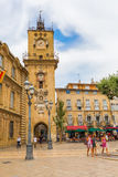 Historic city hall and clock tower in Aix-en-Provence, France Stock Images