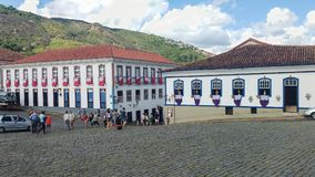 Historic city of Ouro Preto, Minas Gerais, Brazil, March 25, 2016, Catholic holiday of Easter Friday. Colonial mansions in Tiradentes Square Royalty Free Stock Photography