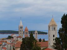 The historic city Rab in Croatia Stock Images