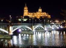 Historic city of Salamanca at night, Castilla y Leon, Spain Stock Photo