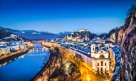 Historic city of Salzburg during blue hour, Austria Stock Images
