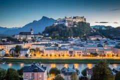 Historic city of Salzburg at dusk, Austria Stock Image