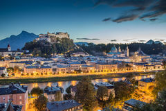 Historic city of Salzburg at dusk, Salzburger Land, Austria Royalty Free Stock Photos