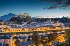 Historic city of Salzburg at dusk, Salzburger Land, Austria Royalty Free Stock Photos