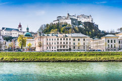 Historic city of Salzburg with Festung Hohensalzburg, Austria Royalty Free Stock Photography