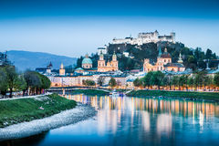 Historic city of Salzburg with Festung Hohensalzburg at dusk Royalty Free Stock Photo
