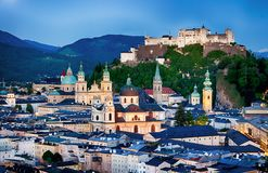 Historic city of Salzburg with Hohensalzburg Fortress at dusk, S Stock Photography