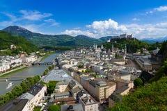 Historic city of Salzburg with Hohensalzburg Fortress, Salzburger Land, Austria Stock Photography