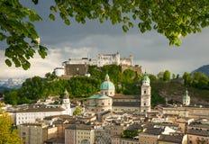 Historic city of Salzburg with Hohensalzburg Fortress, Salzburger Land, Austria Stock Photo
