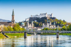 Historic city of Salzburg with Salzach river in springtime, Austria Royalty Free Stock Photo
