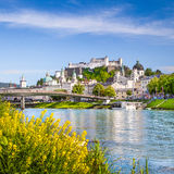 Historic city of Salzburg with Salzach river in springtime, Austria Stock Image