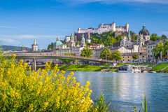 Historic city of Salzburg with Salzach river in summer, Austria Stock Photos