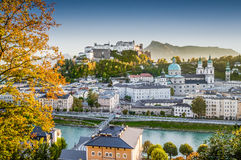 Historic city of Salzburg at sunset in fall, Austria Royalty Free Stock Image