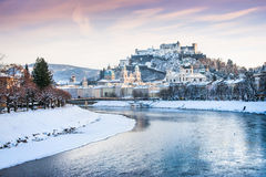Historic city of Salzburg in winter, Austria Stock Photo