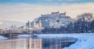 Historic city of Salzburg in winter, Austria royalty free stock photo