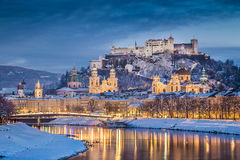 Historic city of Salzburg in winter at dusk, Salzburger Land, Austria Royalty Free Stock Photography