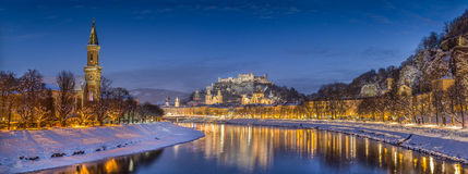 Historic city of Salzburg in winter at dusk, Salzburger Land, Austria Stock Photography