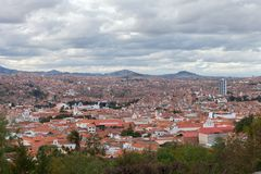 Historic city of Sucre with an aerial view over the Cathedral tower in Bolivia, South America. Stock photo royalty free stock image