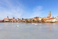 Historic city of Telc in winter Stock Image