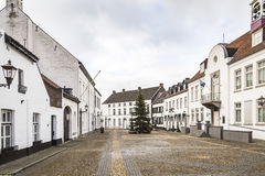 Historic city of Thorn known for its white houses. Historic city center of Thorn in Limburg, the Netherlands. Known for its white houses Royalty Free Stock Image