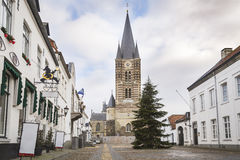 Historic city of Thorn known for its white houses. Square in front of a church in the historic city center of Thorn in Limburg, the Netherlands. Known for its Stock Images