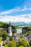 The historic city of Thun, in the canton of Bern in Switzerland. Beautiful landscape in Switzerland. Royalty Free Stock Image