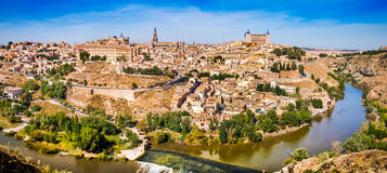 Historic city of Toledo with river Tajo in Castile-La Mancha, Spain Royalty Free Stock Photos