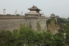 The historic City Wall of Xian Stock Photo