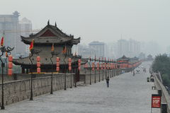 The historic City Wall of Xian Stock Photography